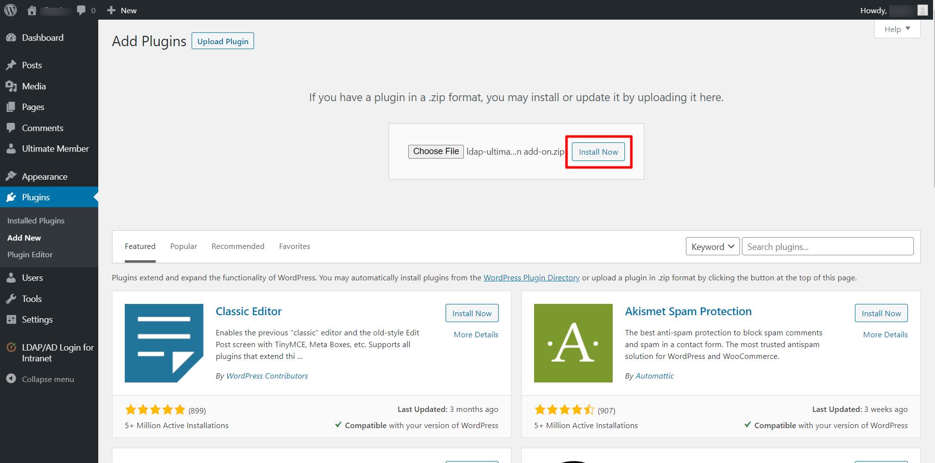 ultimate member login integration installation