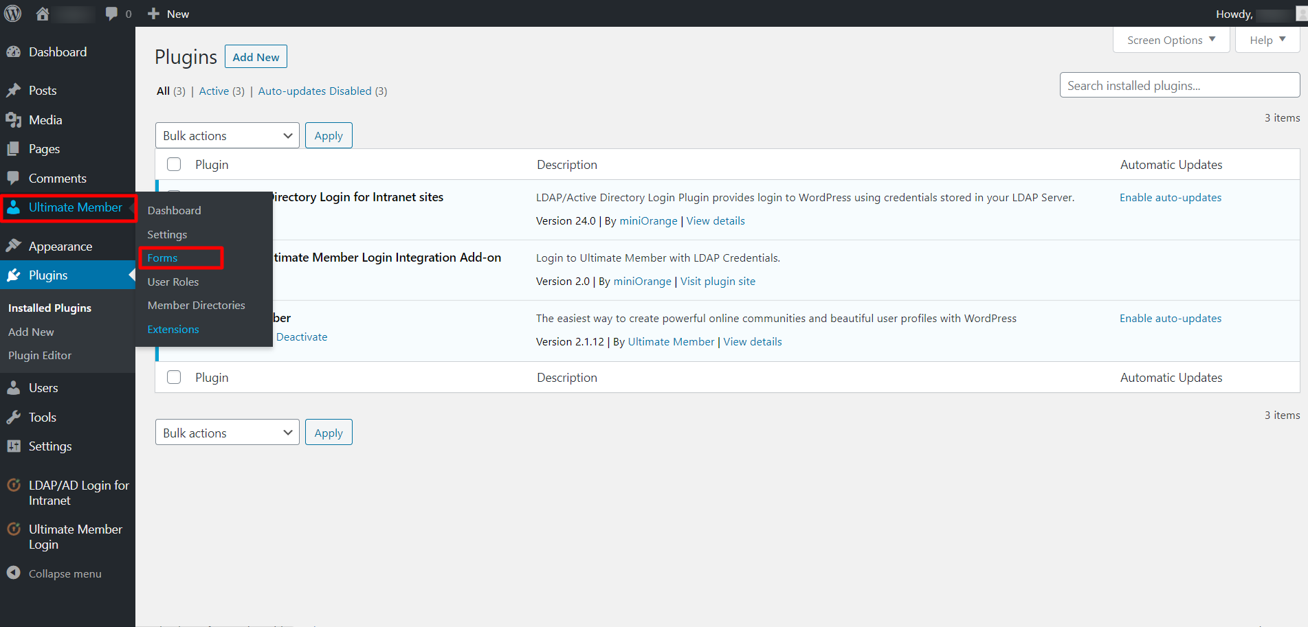 ultimate member login integration form