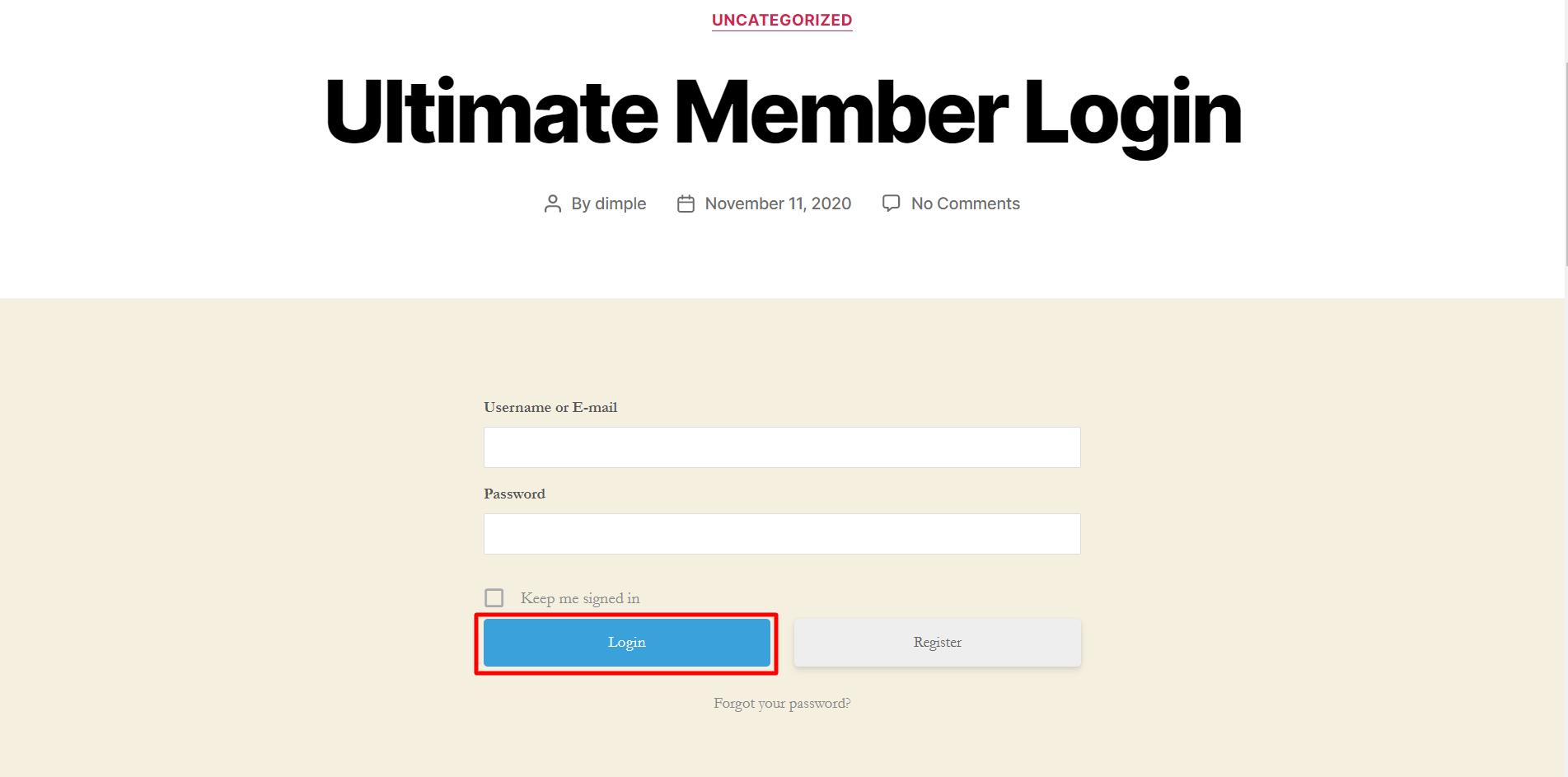 ultimate member login integration login page