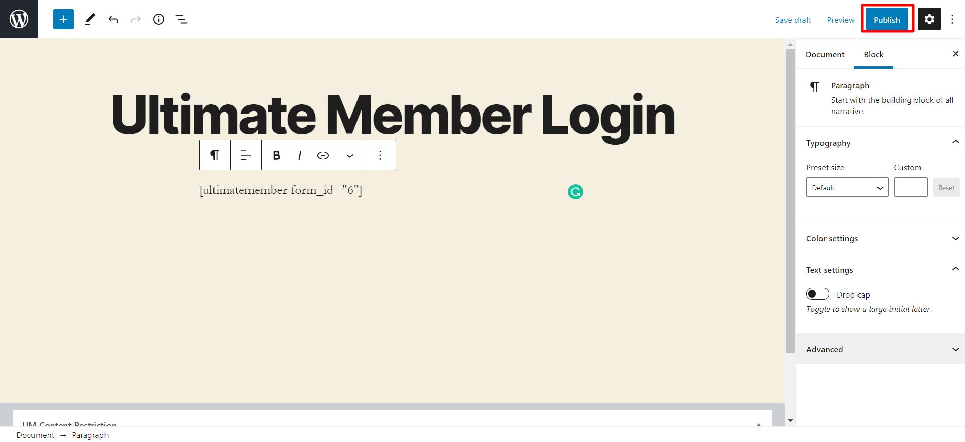 ultimate member login integration publish
