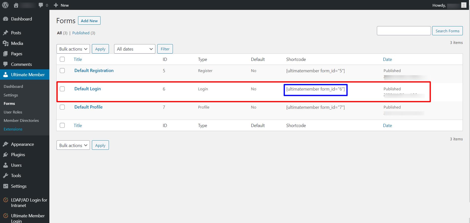 ultimate member login integration shortcode